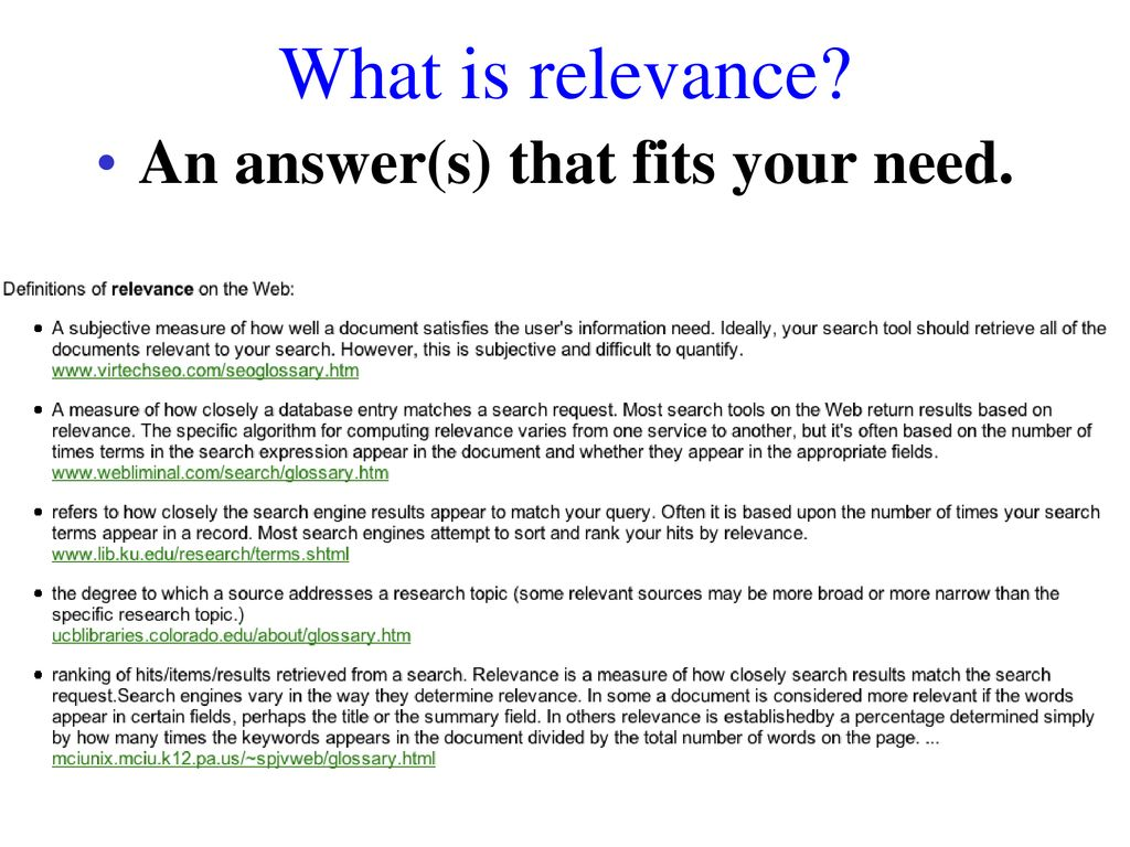 What is relevance? 80