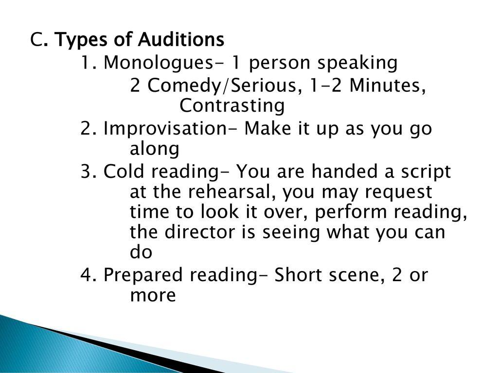 Audition Unit KPHS Theatre  - ppt download