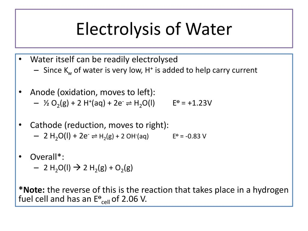 Electrolysis 3 Electrolysis An electrolysis is the inverse of an