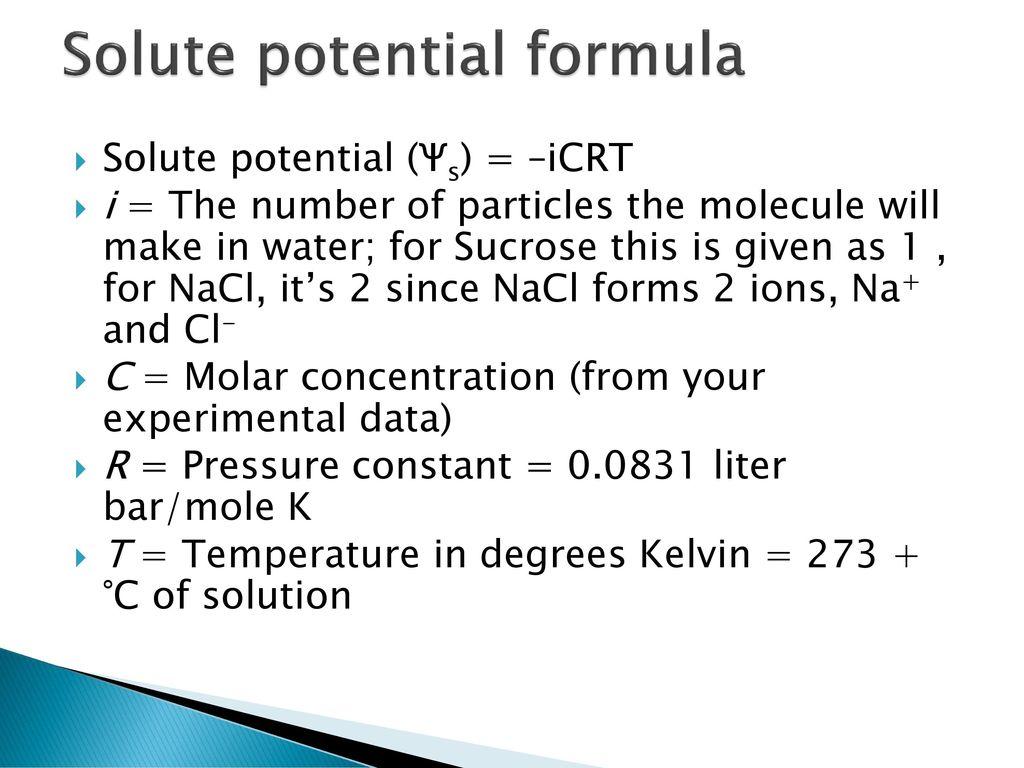 solute potential formula