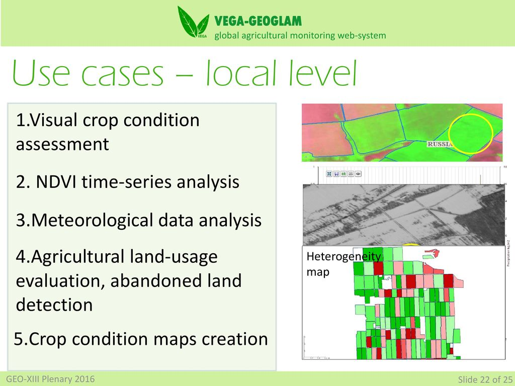 VEGA-GEOGLAM Web-based GIS for crop monitoring and decision