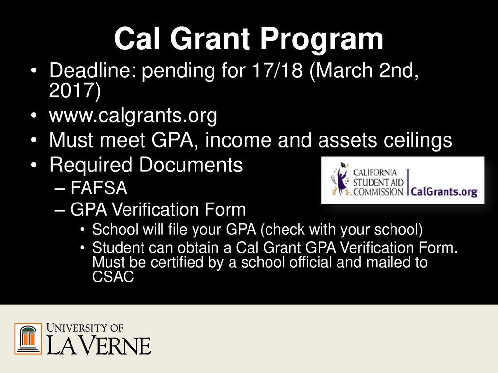 19 Cal Grant Program Deadline Pending For 17 18