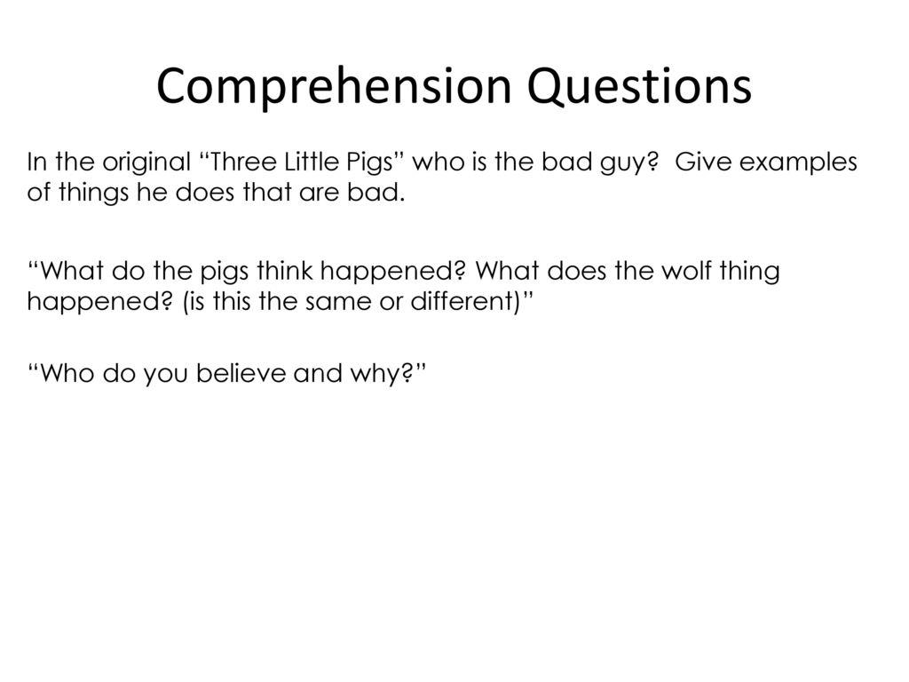 three little pigs comprehension