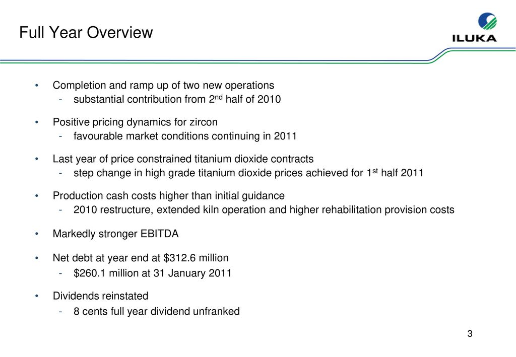 2010 Full Year Results Iluka Resources Limited - ppt download