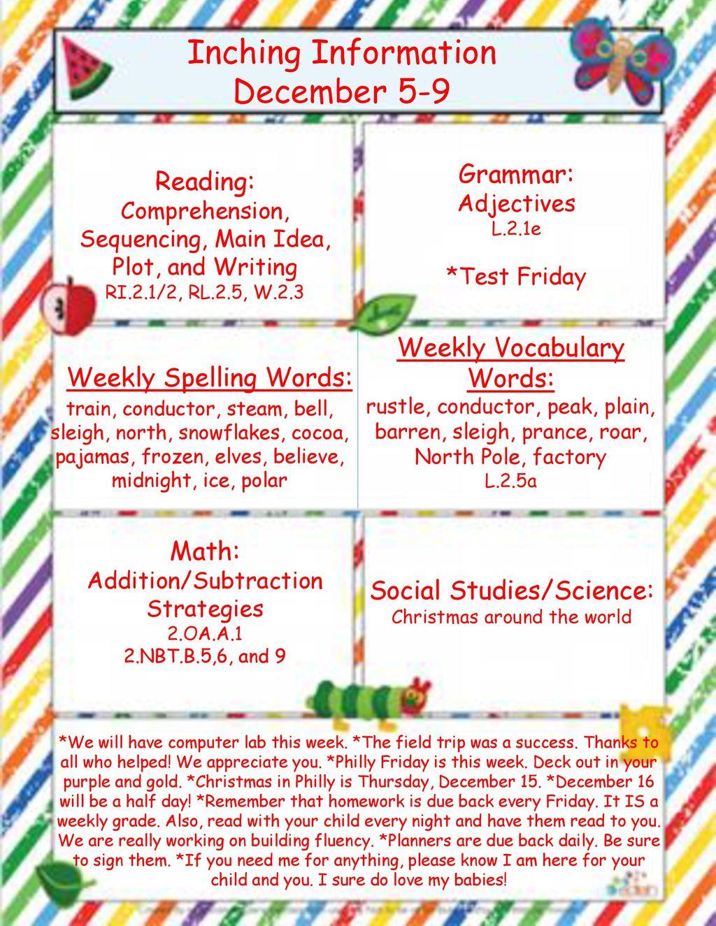 Inching Information December 5-9 Grammar: Reading: - ppt download