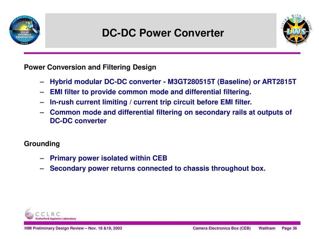 Solar Dynamics Observatory Ppt Download Electronic Circuit Design Review Dc Power Converter Conversion And Filtering