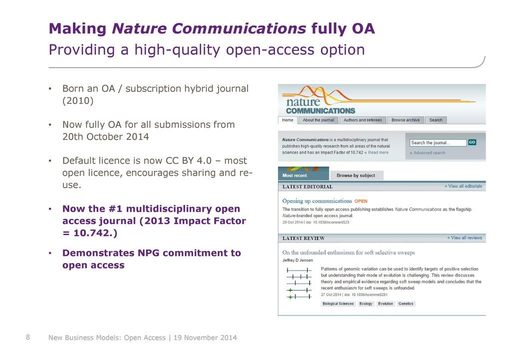 Making Nature Communications Fully OA