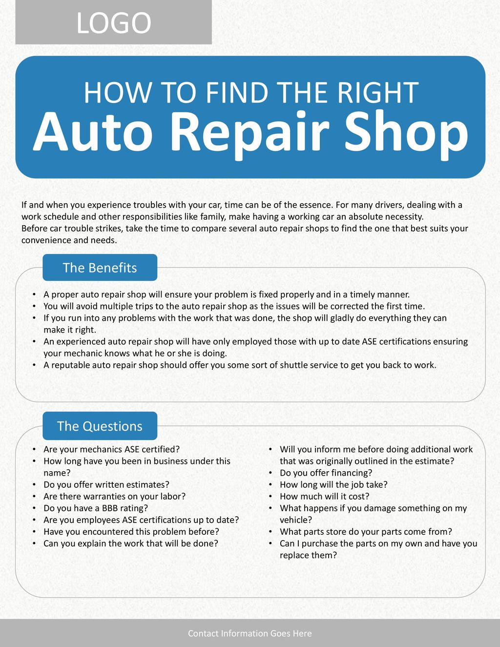 Auto Repair Shop Logo How To Find The Right The Benefits The