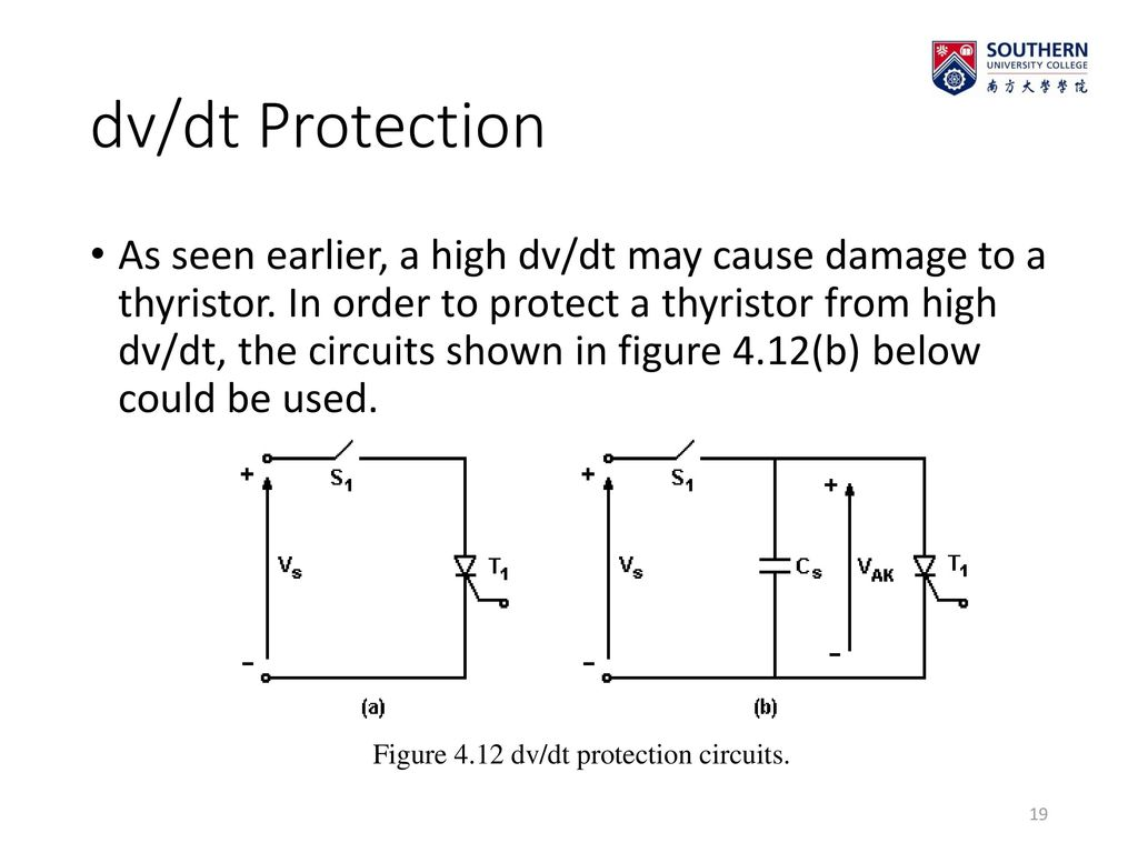 Eleg 3143 Power Electronics Thyristor Ppt Download Snubber Circuit Triac The Could Be A Figure 412 Dv Dt Protection Circuits