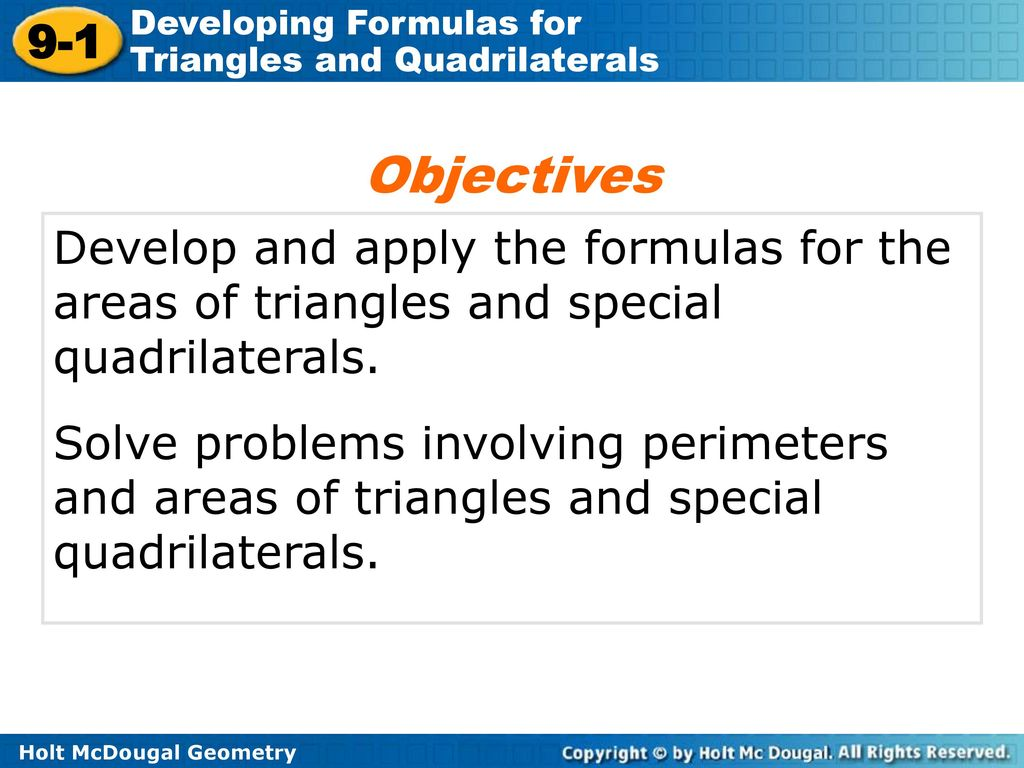 lesson 9.1 problem solving developing formulas for triangles and quadrilaterals answers