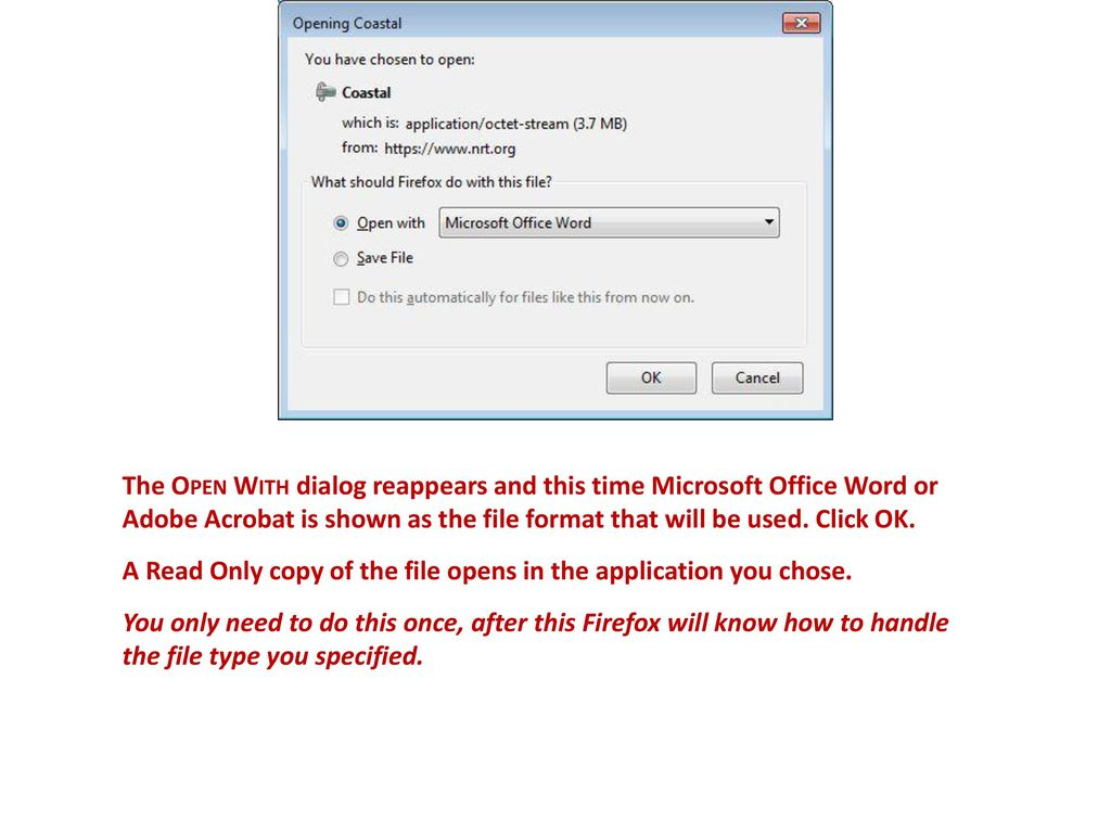 If you use Firefox to open or download a Microsoft Word