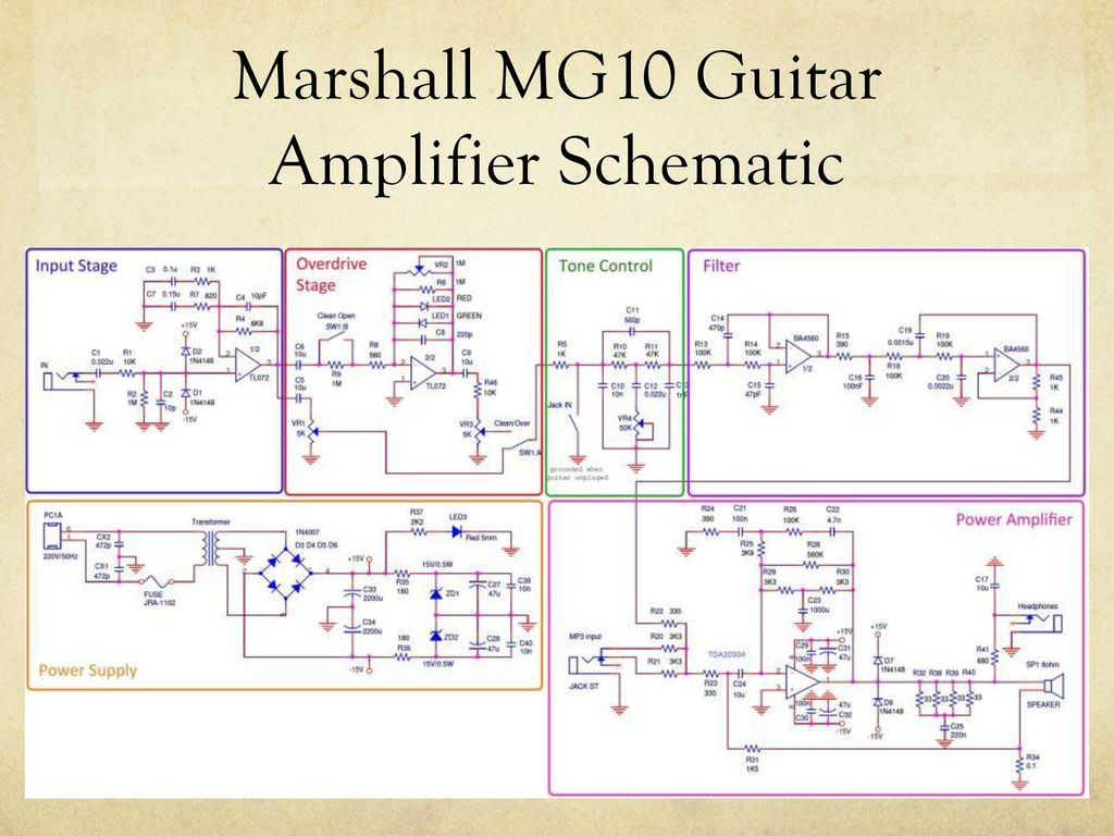 Amplifier Circuit Diagram Projects Ee 320l Final Laboratory Project Marshall Mg 10 Guitar 4 Mg10 Schematic