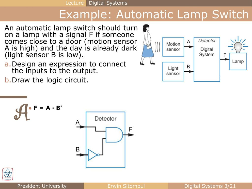 Logic Gates And Circuits Ppt Download Automatic Light Switch Circuit Diagram Example Lamp