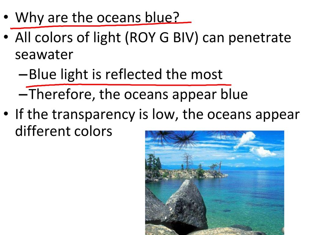 That penetrates seawater of light Color
