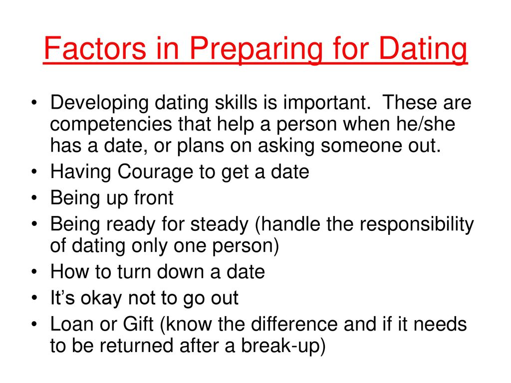 Developing dating skills