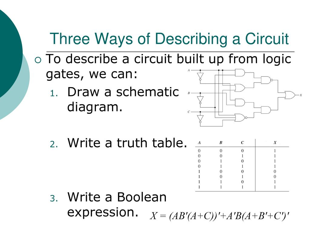 Egr 2131 Unit 2 Boolean Algebra And Logic Gates Ppt Download Circuit Diagram To Expression Describe A Built Up From We Can Draw Schematic Write Truth Table