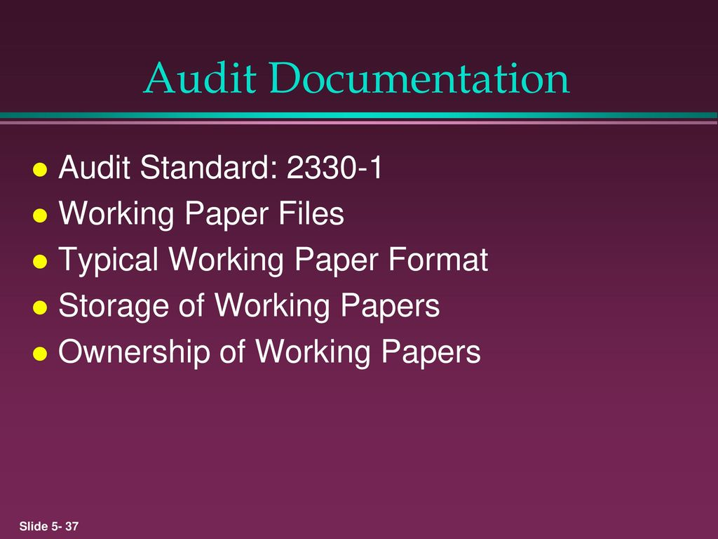 ownership of audit working papers