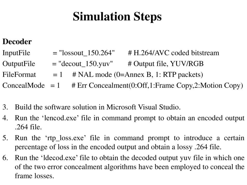 Final Project Presentation ERROR CONCEALMENT TECHNIQUES IN H - ppt