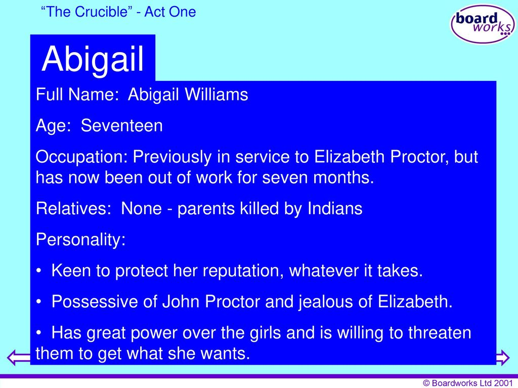 character traits of elizabeth proctor