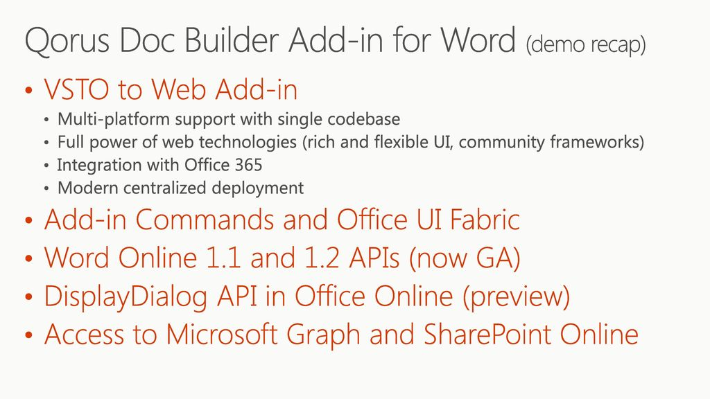 Office Add-ins: Make your solution a native part of Office - ppt