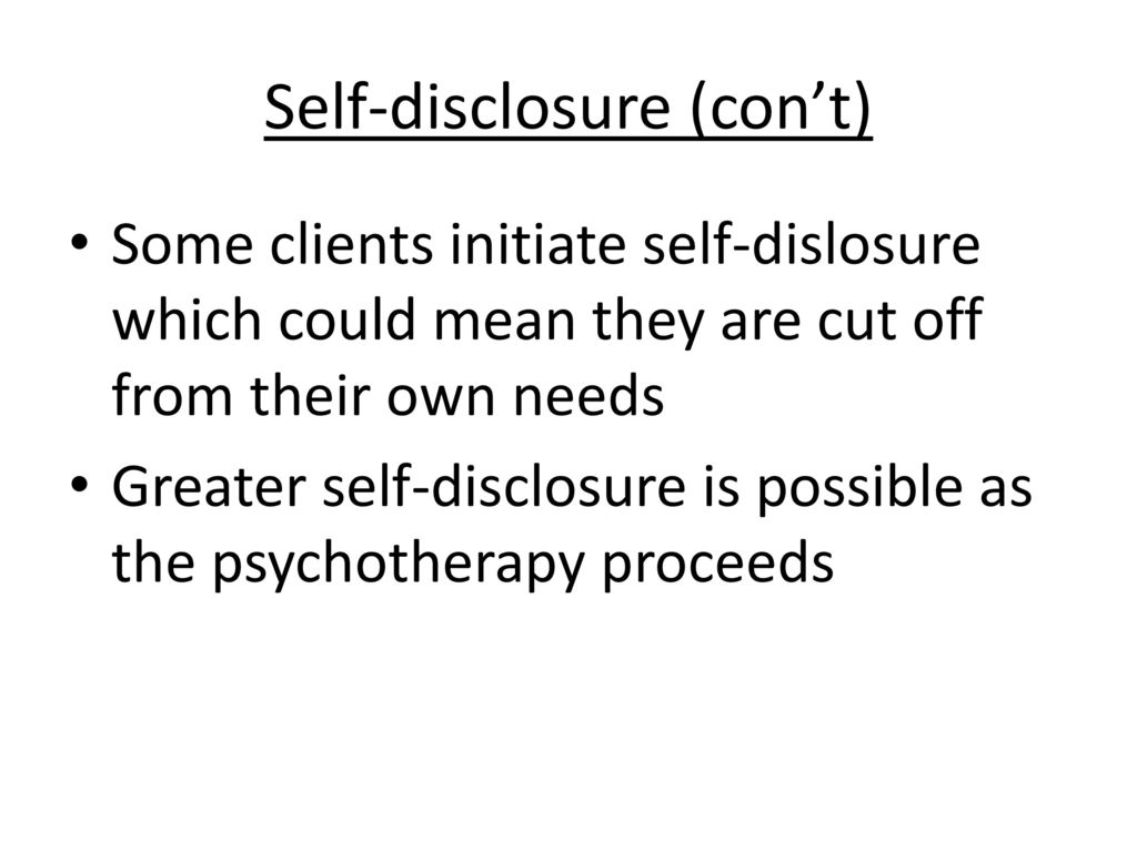 self disclosure with clients
