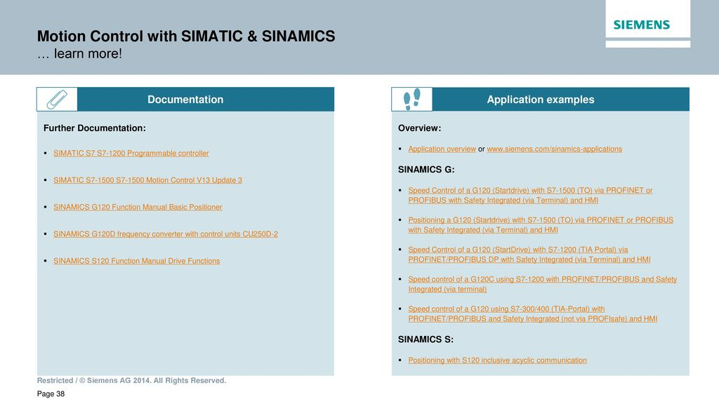 Motion Control with SIMATIC & SINAMICS Speed & Positioning axis