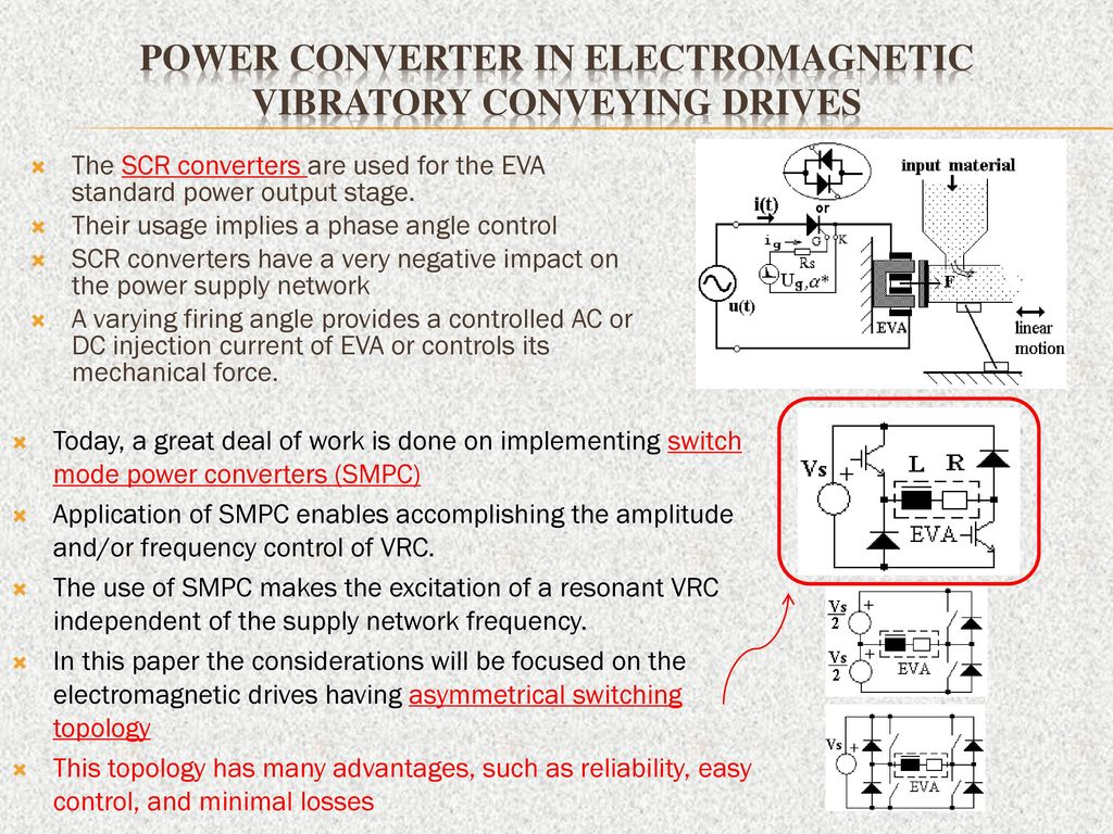 Impact Of Switch Mode Regulated Vibratory Resonance Conveyors With Dc Supply Power Converter In Electromagnetic Conveying Drives