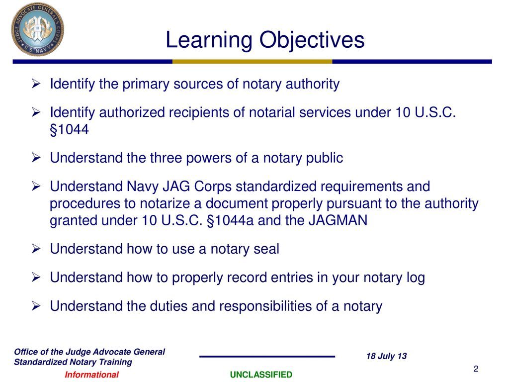 10 Usc 1044a Notary Certification Training Ppt Download