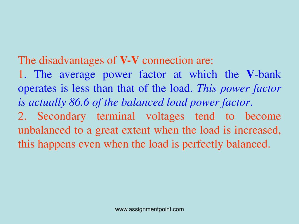 Lecture on transformer regulation ppt download the disadvantages of v v connection are publicscrutiny Images