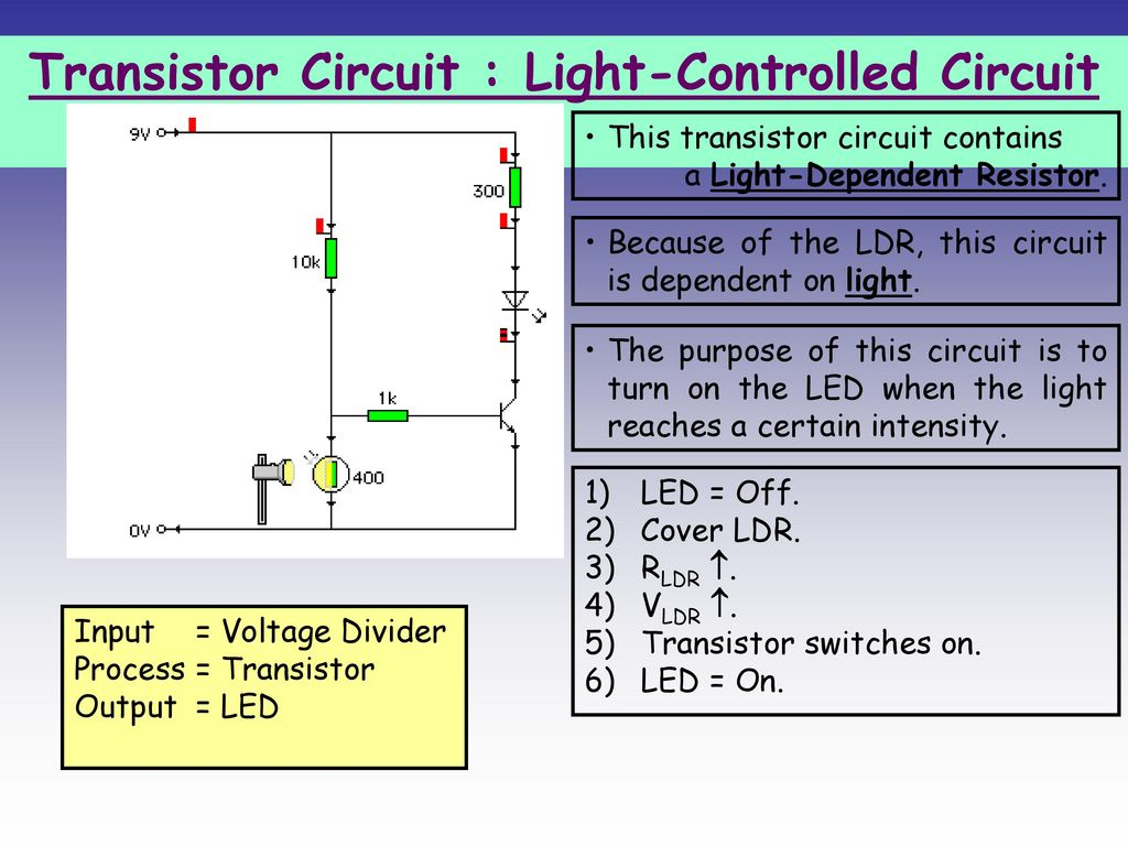D400 Ldr Circuit Guide And Troubleshooting Of Wiring Diagram 9v Transistor Ppt Download Rh Slideplayer Com Using 555 Light Dependent Resistor