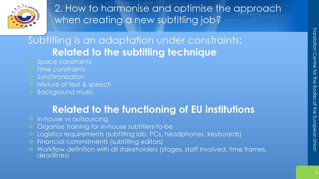 The art of subtitling within the European institutions - ppt download