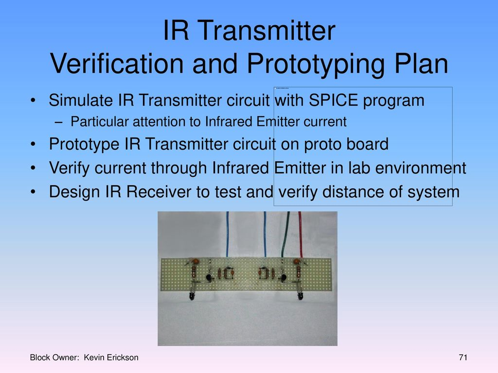 Millennium Infrared Sound System Ppt Download Transmitter Circuit User Prototype Ir Verification And Prototyping Plan