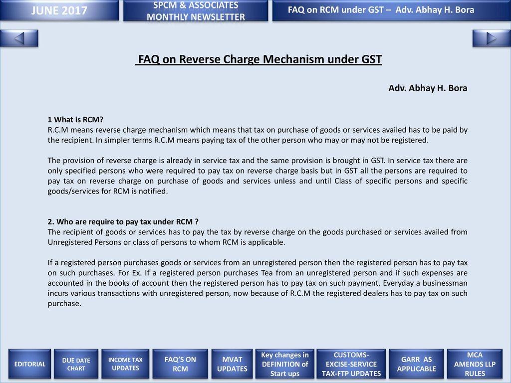 JUNE 2017 SPCM & ASSOCIATES FAQ on RCM under GST – Adv. Abhay H.