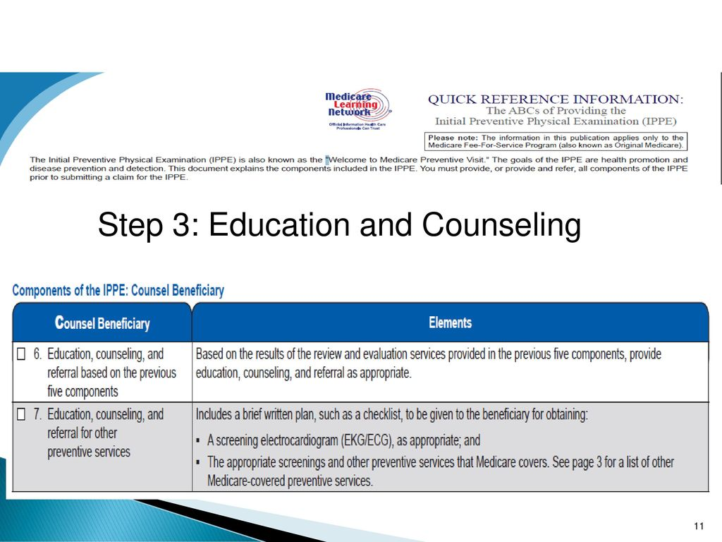 11 Step 3: Education and Counseling
