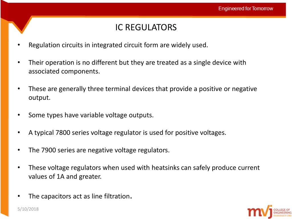 Subject Name Linear Integrated Circuits Code 10ec46 Ppt Where Are Used 14 Ic Regulators Regulation