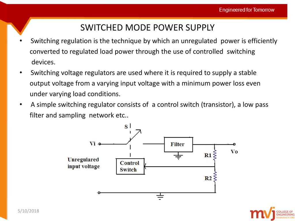 Subject Name Linear Integrated Circuits Code 10ec46 Ppt Picture Of Variable Voltage Regulator Filtered Power Supply Switched Mode