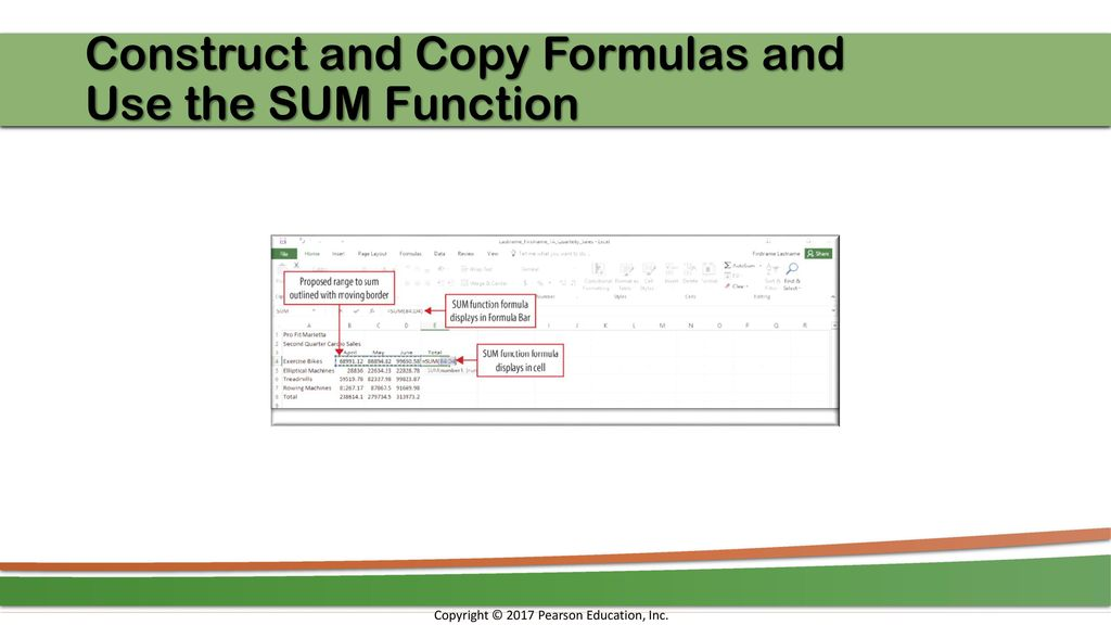 Construct And Copy Formulas Use The SUM Function