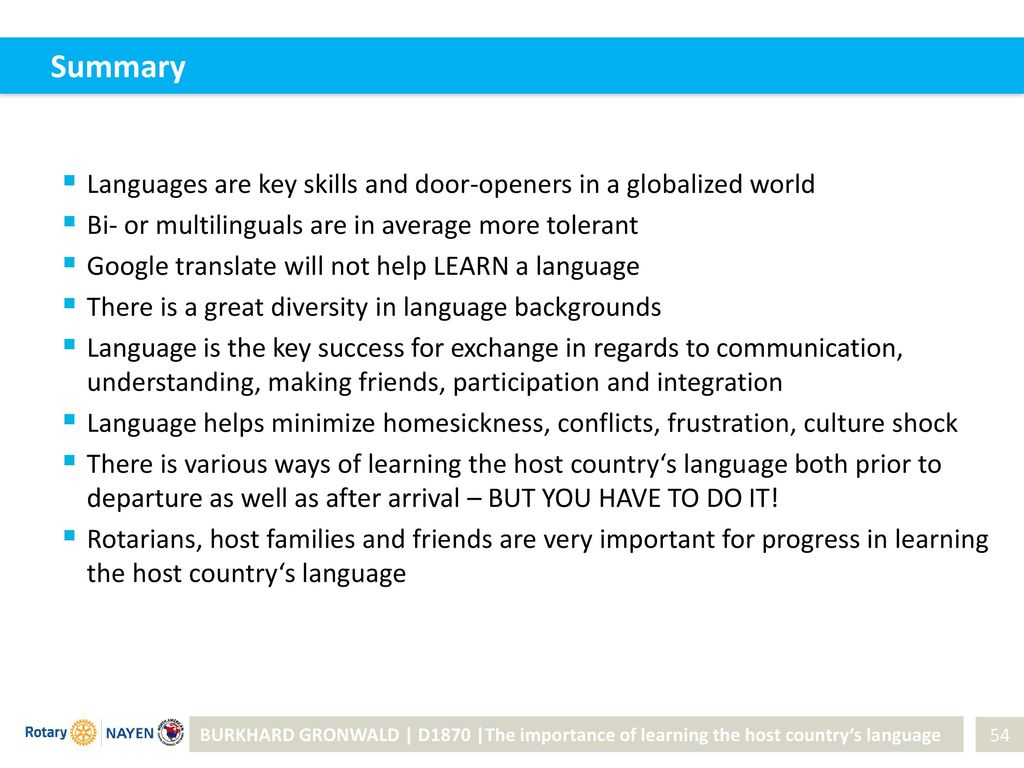 Summary Languages are key skills and door-openers in a globalized world. Bi-
