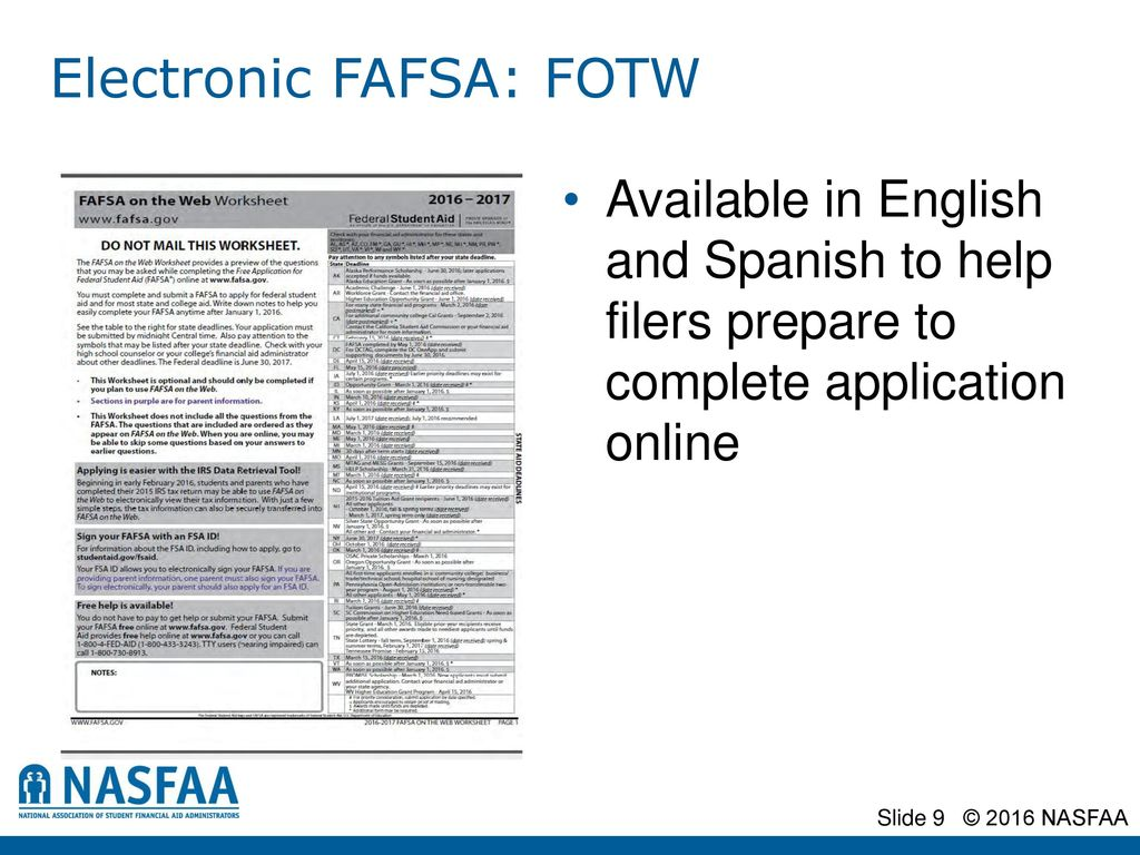 The application process a nasfaa authorized event presented by electronic fafsa fotw ibookread Read Online