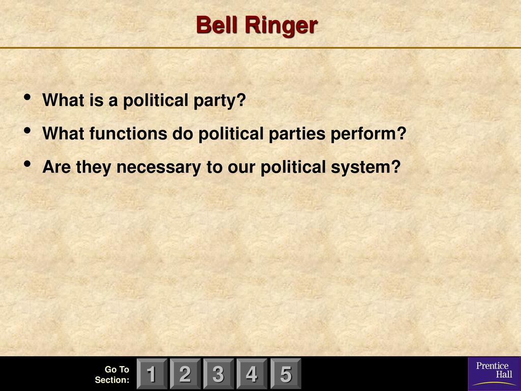 Bell Ringer What is a political party