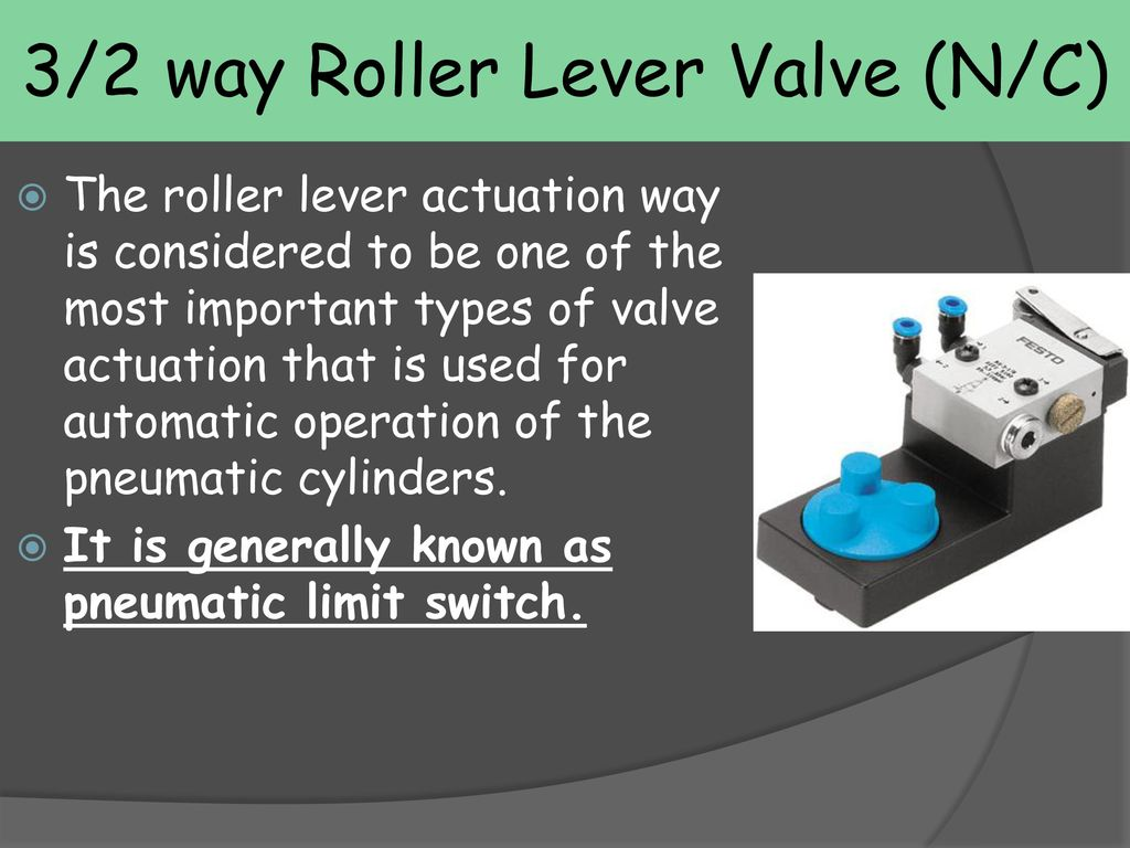 Directional Control Valves Ppt Download 2 Way Switch Operation 3 Roller Lever Valve N C