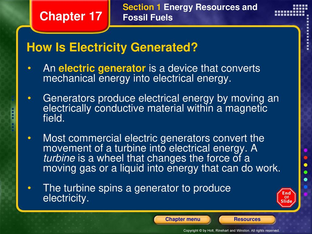 Chapter 17 Table Of Contents Ppt Download Power Generator A Device That Changes Or Converts Mechanical Energy How Is Electricity Generated