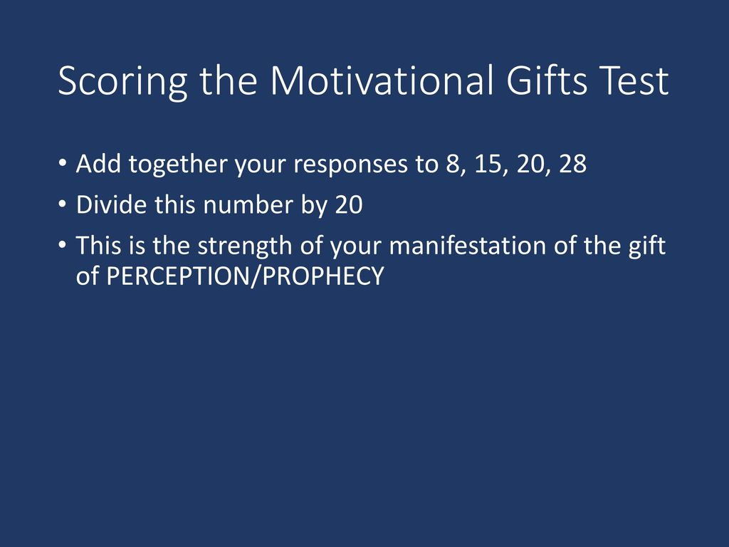 Scoring the Motivational Gifts Test