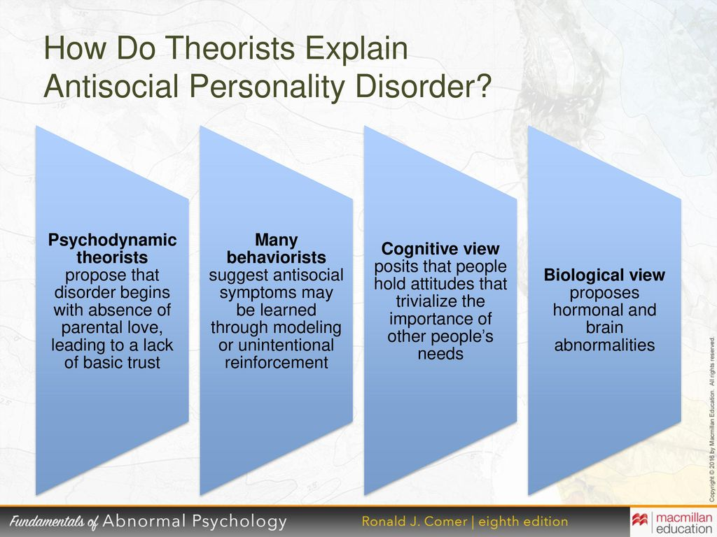 a description of the antisocial personality disorder apd Antisocial personality disorder, addiction, dsm iv, personality disorders a secret service agent recently asked if i was familiar with a 1992 fbi report that almost half of the killers of law enforcement officers met the criteria for antisocial personality.