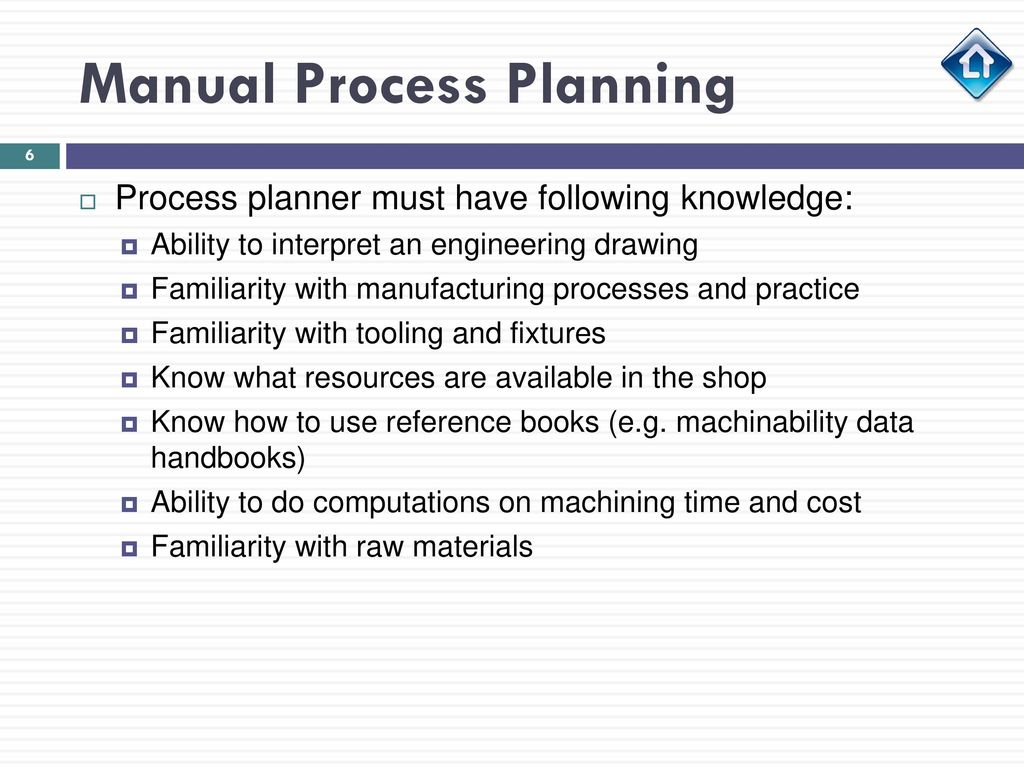 Manual Process Planning