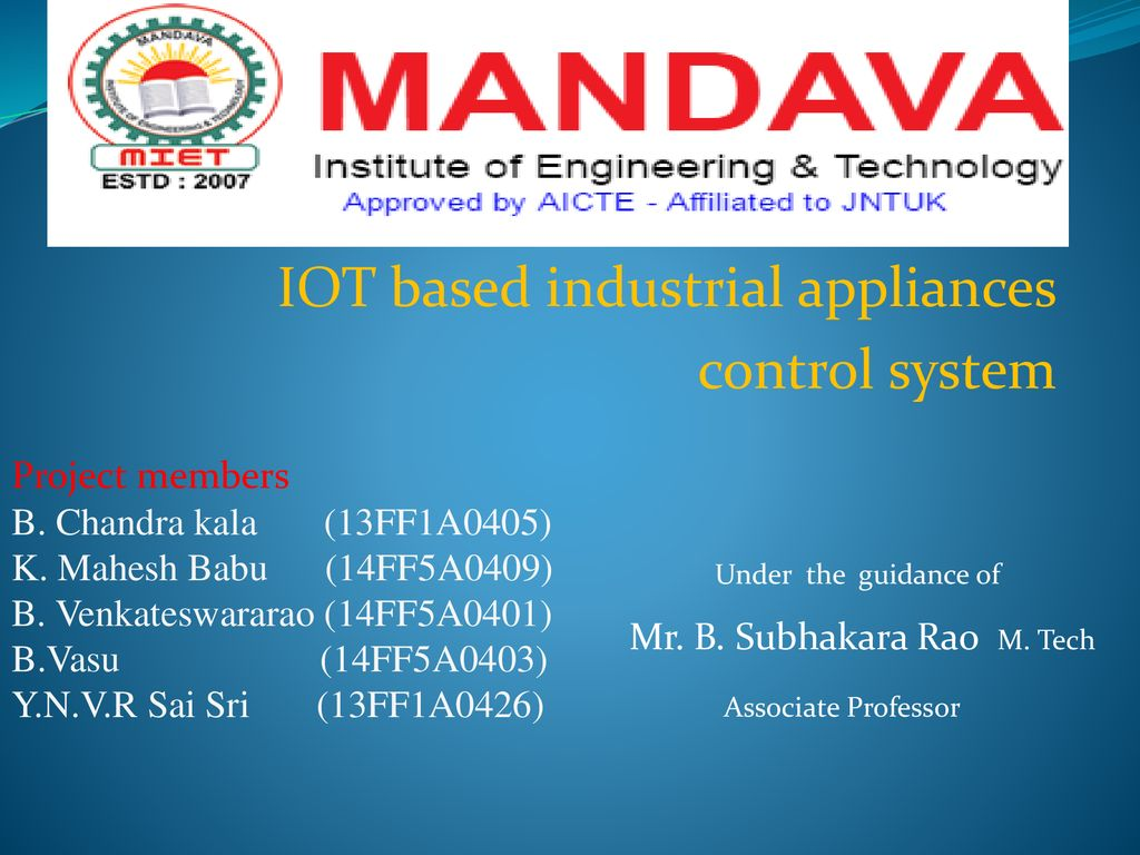 IOT based industrial appliances control system - ppt download