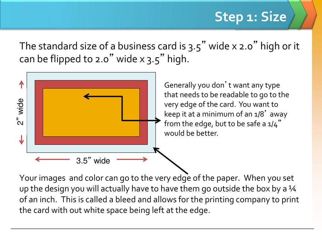 The steps to creating a business card ppt download step 1 size the standard size of a business card is 35 wide x 20 colourmoves