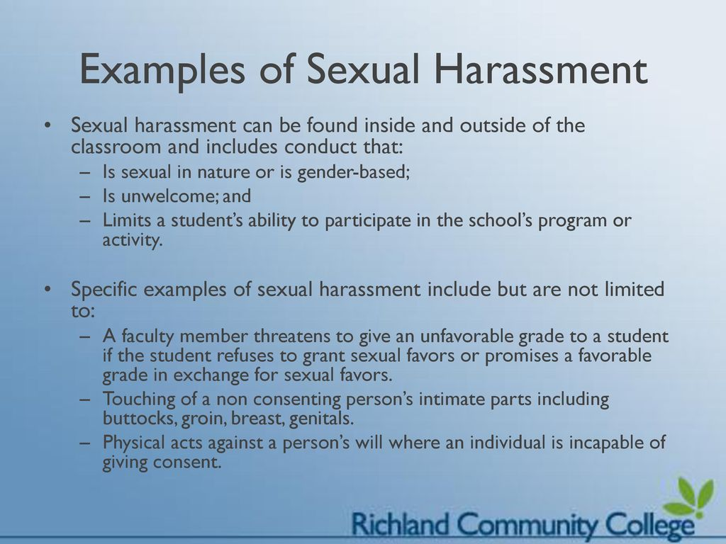 Sexual harassment in the college classroom activities