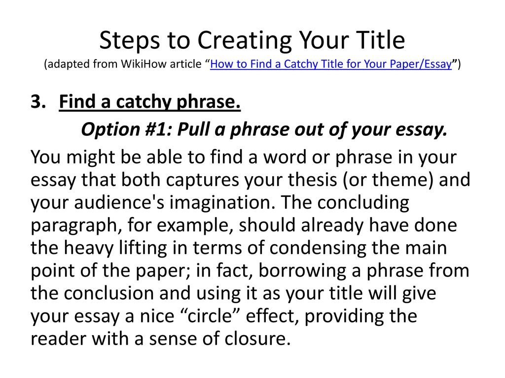 How To Create A Catchy But Informative Title For An Analytical