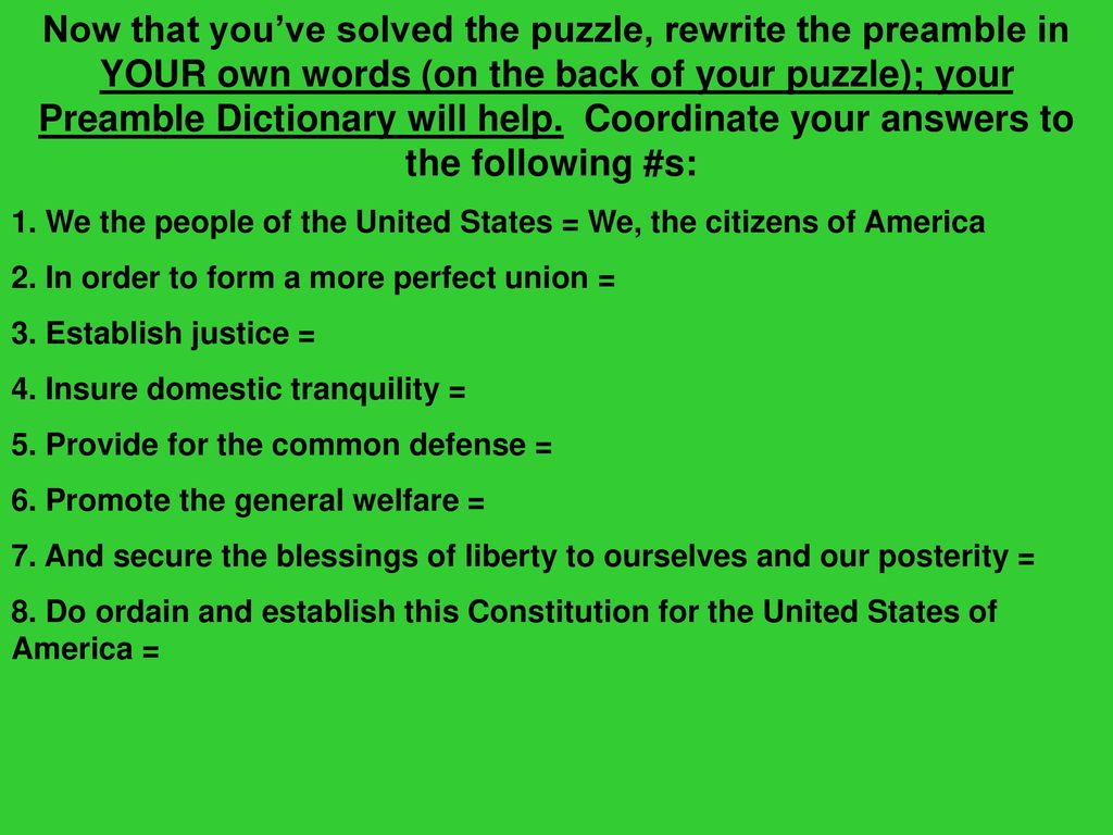 What is the preamble help